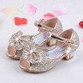 Enfants 2016 Crianças Sandálias Princesa Sapatos de Salto Alto Vestido Sapatos Sapatos de Festa De Casamento Crianças Meninas Calçados Para Meninas Rosa Azul Ouro