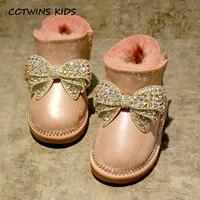 CCTWINS CRIANÇAS 2017 Menina Strass Bota de Neve Da Criança Do Bebê Garoto Brilho Genuínos Ankle Boots de Couro Criança Moda Quente Plana Sapato