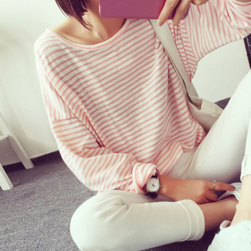 Fashion O-Neck Striped T-Shirt Women Casual Loose Long-sleeved T-Shirt