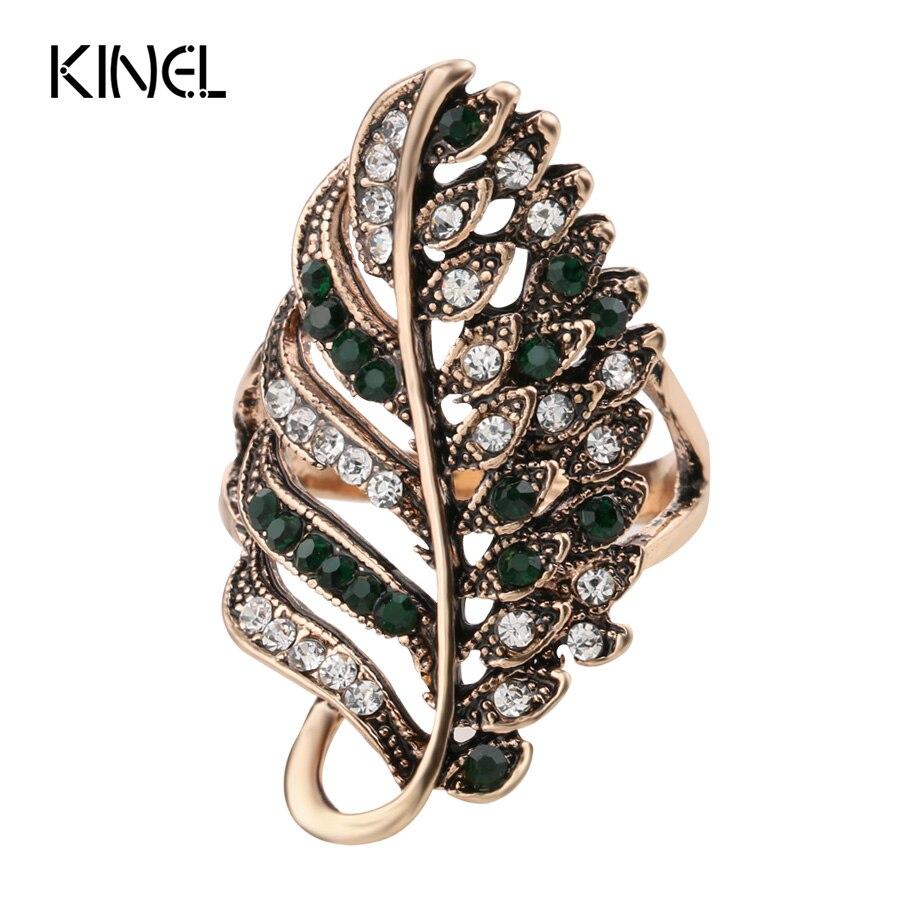 Kinel Fashion Green Crystal Wedding Engagement Ring