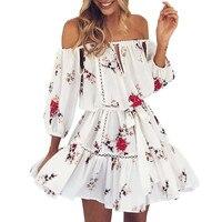 Boho Beach Sundress Women Summer Floral Print Mini Dresses Ladies Vintage Clothes Women S Off Shoulder