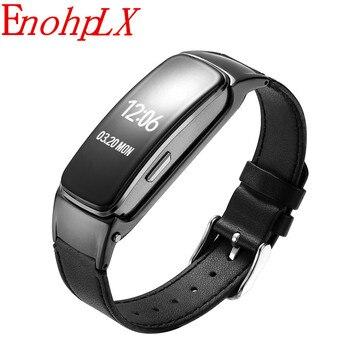 EnohpLX 2018 auriculares inteligentes Bluetooth banda inteligente presión arterial respuesta y llamada inteligente pulsera de llamada inteligente B3 Plus