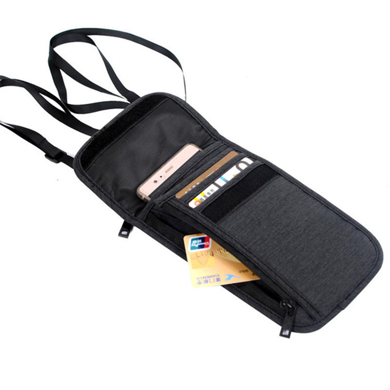 Neck Hanging Travel Accessory Passport Cover Bag Wallet Credit Card Package ID Holder Storage Organizer Bag For Phone Strap Case