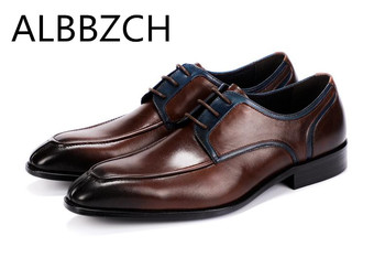 New mens derby genuine leather dress shoes men fashon wedding shoes Italian style handmade quality cow leather work man shoes