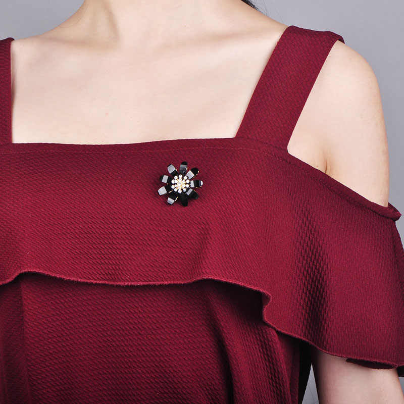 Funmor wykwintne kwiat kształt broszka miedziane szpilki kobiety dziewczyny Cardigans sukienka kimona dekoracji biżuteria wakacyjne Bijouteire prezenty