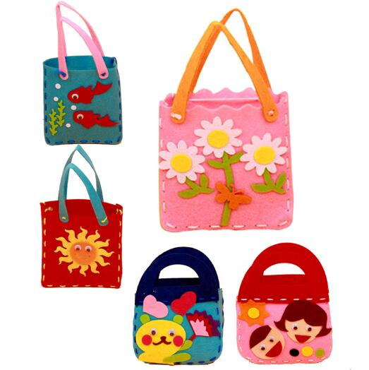 <font><b>EVA</b></font> DIY <font><b>Handbag</b></font> Children Class Handmade <font><b>Handbags</b></font> Non-woven Cloth Kids Crafts Cartoon Toys Creative Gifts