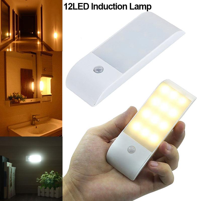 Motion Sensor Light 12 LED Rechargeable Magnetic Lamp for Wardrobe Cabinet Kitchen ALI88