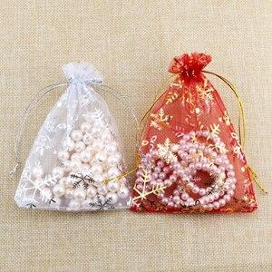 Image 5 - Takı ambalaj çanta aksesuarları boncuk torbalar noel şeker çanta İpli organze hediye çantası kar tanesi çantası 1000 adet/grup