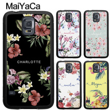 MaiYaCa Personalised Floral Botanical Names Phone Case For Samsung S5 S6 S7 edge S8 S9 S10 Plus Lite Note 9 8 4 5 TPU Capa Para