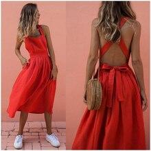 CROPKOP 2019 Summer Women Dresses Sexy Backless Sleeveless Long Red Fashion Slim Evening Party Beach Sundress Vestidos