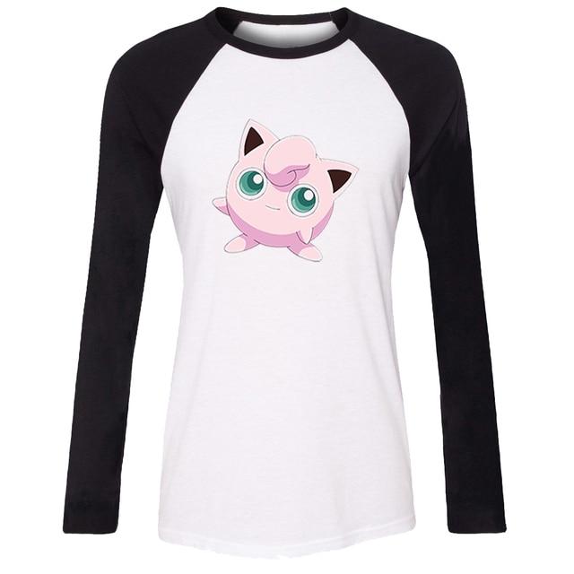 f5424a2677423 iDzn Women Casusl T-shirt Cartoon Cute Pokemon Jigglypuff Chansey Ditto  Lickitung Long Sleeve Girl cotton T shirt Lady Tee Tops