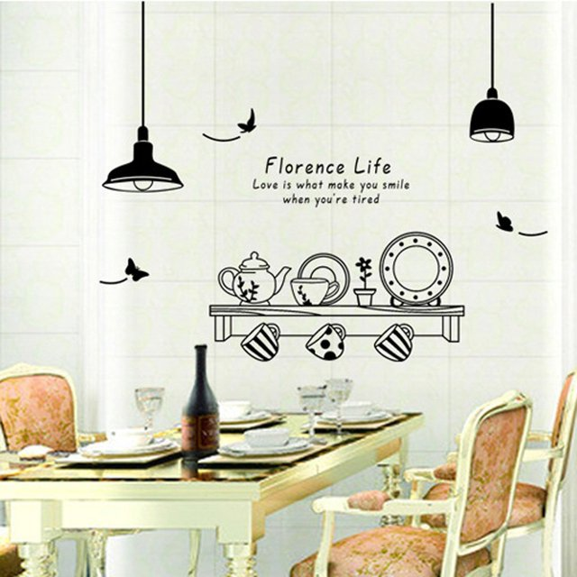 Kitchen Utensils Wallpaper kitchen utensils butterfly letter removable wall stickers art