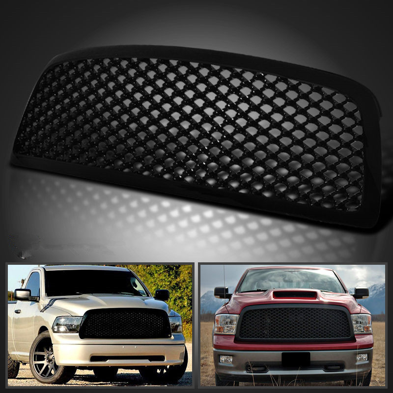XYIVYG 2009-2012 for Dodge Ram 1500 Mesh Front Hood Grill Grille Glossy Black ABS for 02 05 dodge ram black sport billet front hood bumper grill grille frame abs usa domestic free shipping hot selling page 7