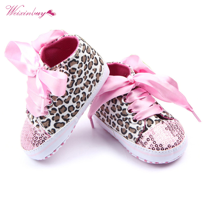Toddler Baby Boys Girls Shoes Autumn Spring Floral Leopard Sequin Print Infant Soft Sole First Walker Cotton Lace Up Shoes