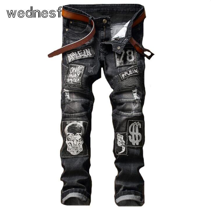 #1936 2017 Black ripped jeans men Famous brand High quality Patchwork Fake designer clothes Jogger jeans Hip hop jeans men