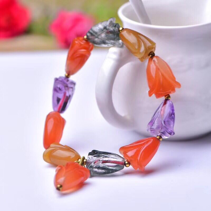 Wholesale Color Natural Crystal Bracelets Magnolia Flower Beads Hand String Lucky Beauty for Women Girl Gift Crystal Jewelry candy coloured string hand chain bracelets