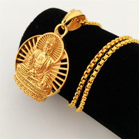 New Gold Plated Buddha Pendant Neckalce Hip Hop Prayer Jewelry Women Men S Gift