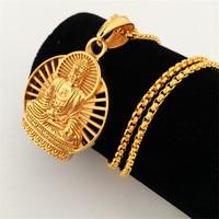New Gold Plated Buddha Pendant Neckalce Hip Hop Prayer Jewelry Women Men S Gift