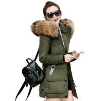 2017 Fur Collar Plus Size 3XL Women Winter Hooded Coat Female Outerwear Parka Ladies Warm Long