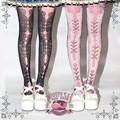 Princesa dulce pantimedias lolita corsé Victoria impresión del cordón atractivo corselet gótico negro pantimedias impresión Vintage LWK04