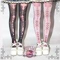 Princess sweet lolita pantyhose Victoria corset printing sexy lace corselet black gothic Vintage print pantyhose LWK04