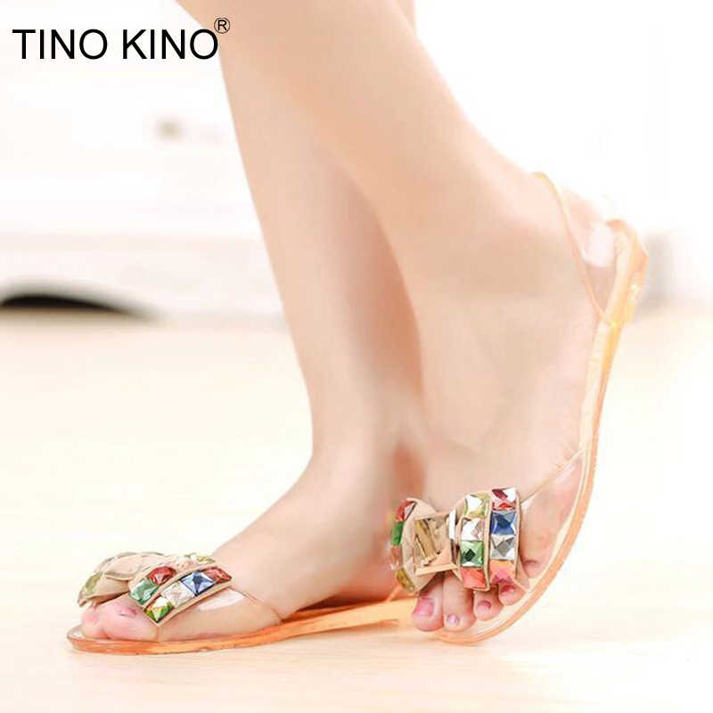 264dd8bbc7dd New Women Transparent Sandals Color Crystal Bowtie Flats Bohemia Peep Toe  Shoes Female Summer Slip-