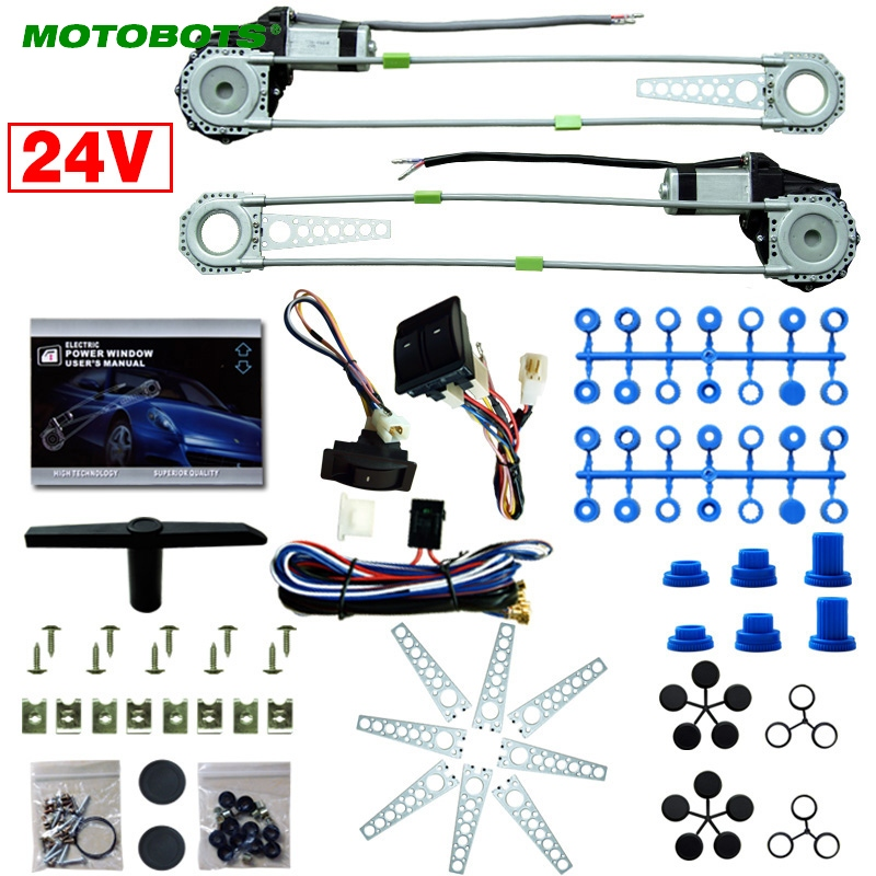MOTOBOTS Car/Truck Front 2-Doors Electric Power Window Kits With 3pcs/Set Switches & Harness DC24V  #CA2979