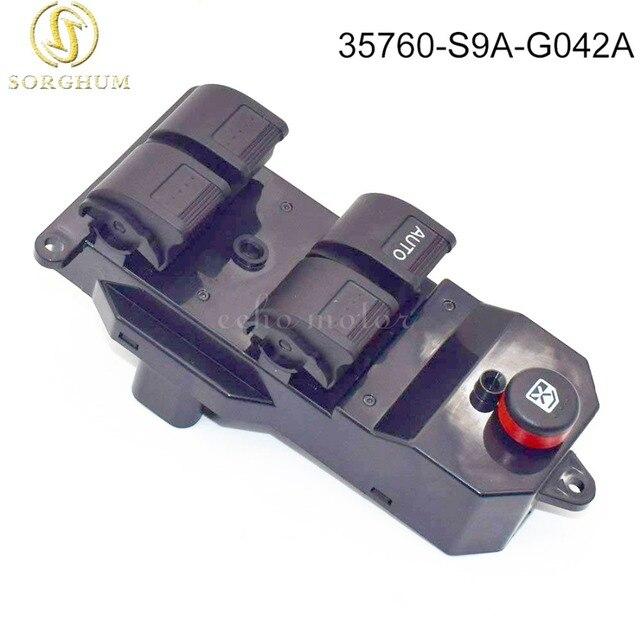Nuevo 35760-S9A-G042A 35760-S9A-G042 negro eléctrico interruptor de la ventana de energía para Honda CRV CR-V 2002-2006 Civic 2001-2005 35760S9AG042A