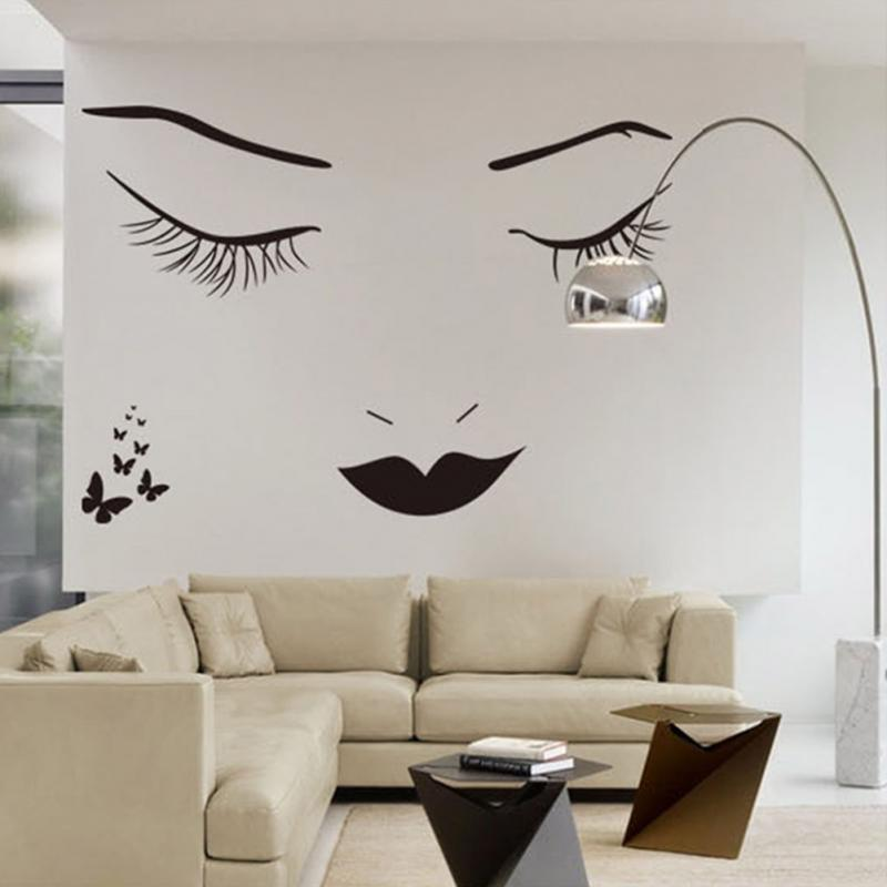 60cm*90cm Large Sex Lady Face With Butterflies Wall Stickers Home Decor Living Room DIY Butterfly Portrait Sticker Decoration