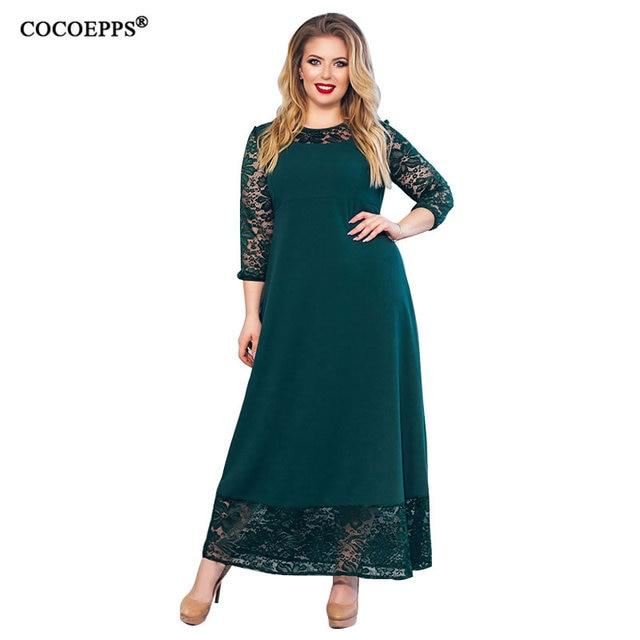Большой размер платье 2018 Лето Женское кружевное длинное платье Большой размер лоскутное элегантное вечернее платье плюс размер s женский vestidos