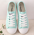 Nuevas Mujeres Zapatos de Lona Con Cordones Ocasionales Lindos Colores Del Caramelo Del Resorte de Las Señoras Pisos Mujer Zapatos blancos ac48