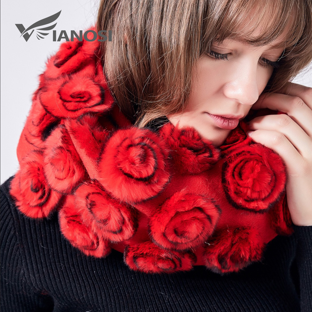 VIANOSI 2019 Winter Real fur Scarf for women Cape Flowers rex rabbit fur Scarves with 100% Wool Scarf Shawl Brand Poncho VA202