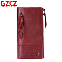 GZCZ Genuine Leather Original Leather Women Casual Long Wallet Luxury Designer High Quality Women S Purse