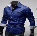 2017 Mens Shirts New Arrived  Casual Shirt Slim Fit Formal  Long sleeve deep blue large size High Quality  Asian M-4XL!