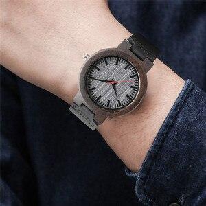 Image 5 - 腕時計黒檀木製腕時計メンズヴィンテージクォーツ手作りウッドクロック付き本革ストラップ腕時計ギフトリロイデ·マデラ