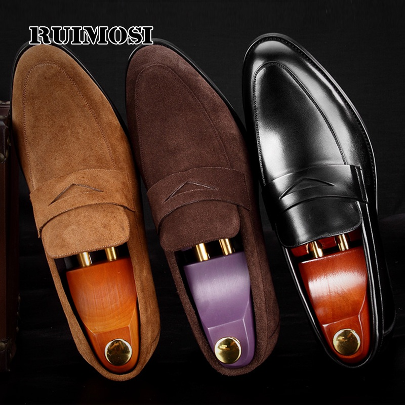 RUIMOSI Round Toe Man Casual Shoes Cow Suede Leather Comfortable Male Loafers Formal Designer Brand Men's Work Boat Flats MG65