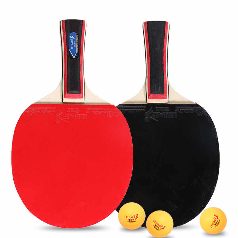 1 Pair Double-sided Anti-adhesive Table Tennis Racket Ping Pong Paddles with 3 Balls