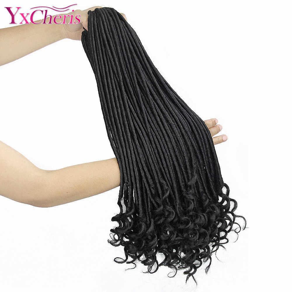 YxCheris diosa Faux Locs trenzas de ganchillo extensiones de cabello trenzado sintético 18 pulgadas 24 hebras de pelo a granel Dreadlocks
