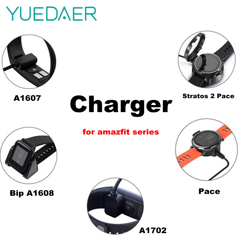 YUEDAER USB Charger Dock Charging For Xiaomi Huami <font><b>Amazfit</b></font> Bip <font><b>Bit</b></font> For <font><b>Amazfit</b></font> Stratos <font><b>2</b></font> 2S Pace Smart Watch Midong A1607 A1608 image