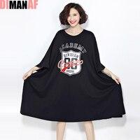 Women Dress Large Size Brand Print Tops Tees Loose T Shirt Plus Size Cotton European Female
