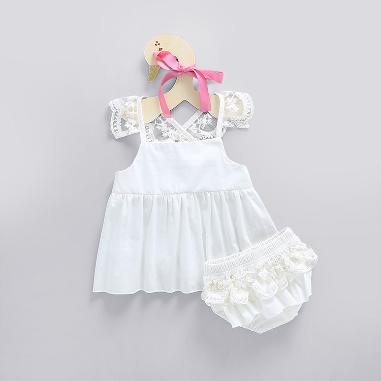 Girls Lace Baby Sets Princess Toddle Sets Lace Dress + Lace Shorts Summer Back Cross White Cotton Fabric Clothes