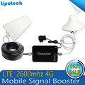 1 Conjunto! mini FDD-LTE 2600 mhz 4G LTE amplificador celular Repetidor De Sinal de celular signal Booster 65db móvel Antena para casa eua