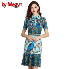 83b82aff9e4609 by Megyn 2 piece runway sets 2018 women short sleeve peacock print blouses  and patchwork pleated skirt 2 piece outfits for women