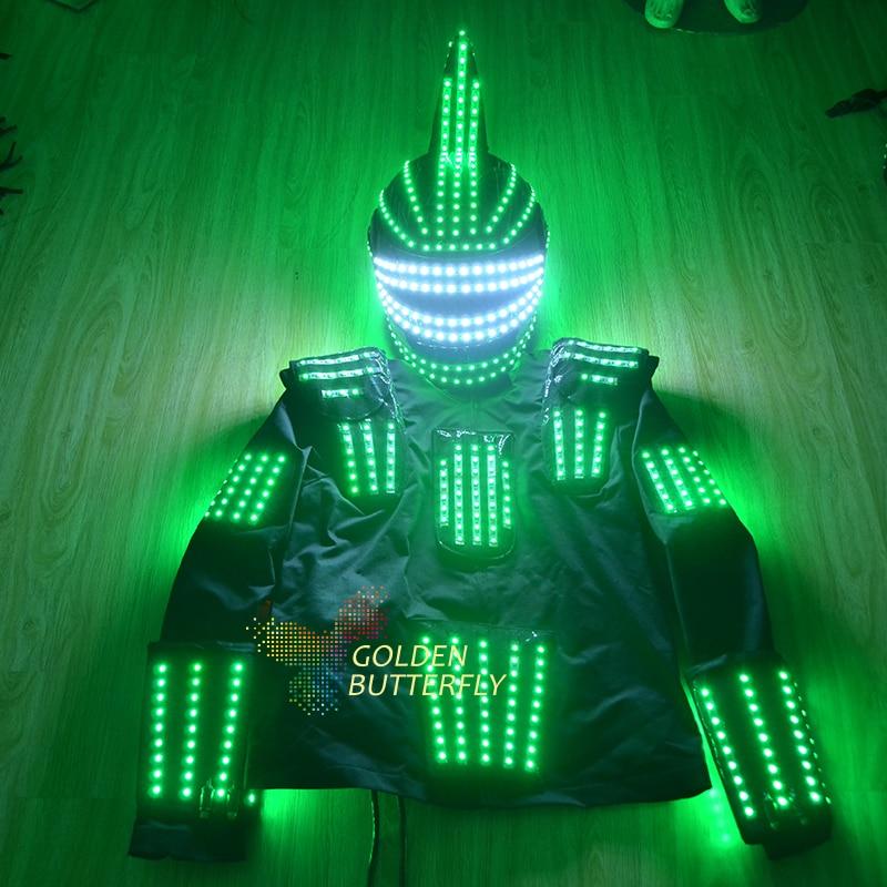 Pánské oděvy Svítící oblečení Helmy Kalhoty Svítící Talent Show Pánské LED obleky Ballroom Mechanické taneční šaty Doplňky