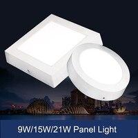 Gratis verzending Dimbare 9 W/15 W/21 W Vierkante Led-paneel Licht Opbouw Downlight verlichting Led plafond down AC85-265V + Driver
