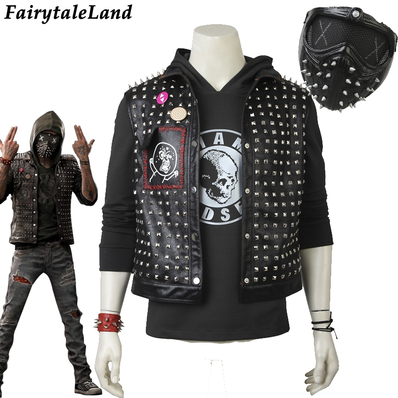 Watch Dogs 2 Wrench Cosplay Costume Halloween costumes Men leather mask vest cosplay Dedsec Member Wrench