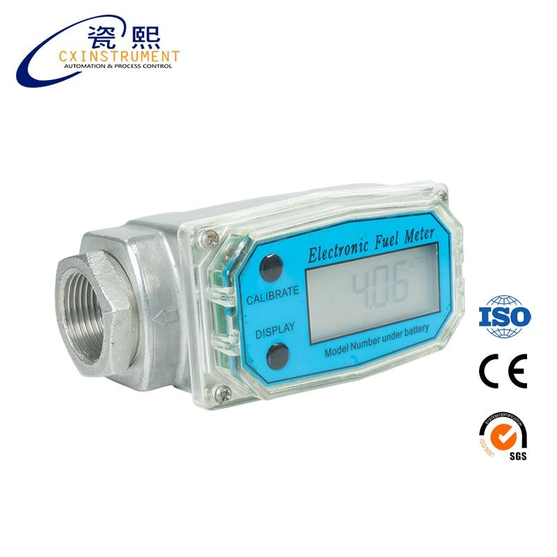Digital Diesel Fuel Flow Meter 1.5/'/' Electronic Turbine Flow Gauge 380L//Min