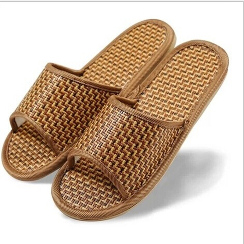 2017 Summer Style Indoor Home Men Slides Furnishing Bamboo Rattan Grass Mats Cow Muscle Slip-on Massage Fashion Cool slippers amish style – clothing home furnishing toys dolls