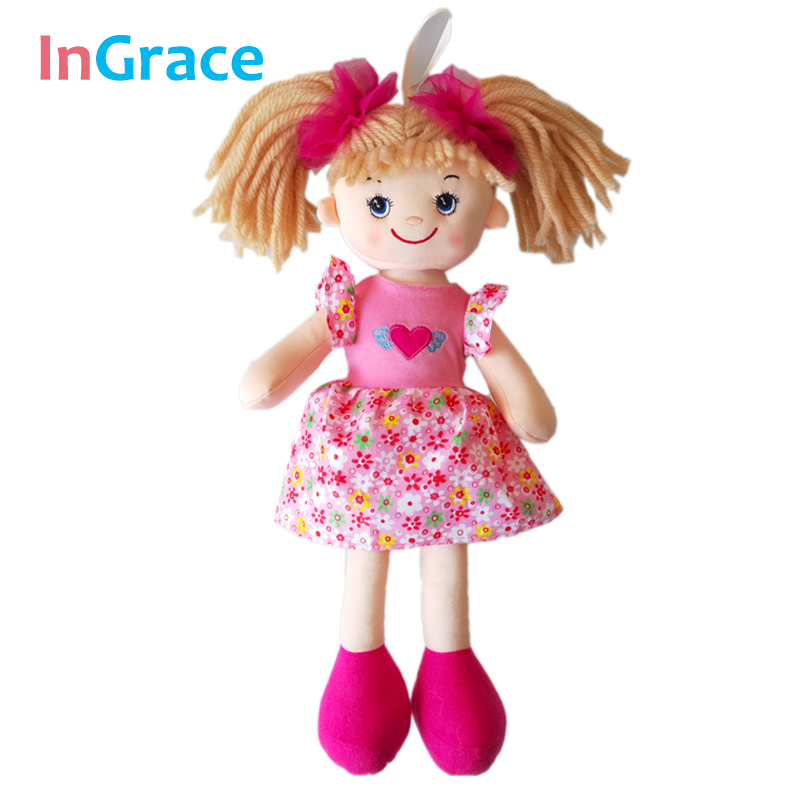 In.Grace brand cute big eyes dolls for girls with flower pattern dress and red headwear beautiful soft dolls for baby girls pink pink and red children sets baby girls