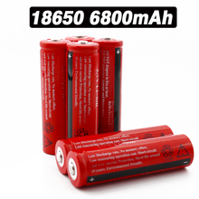 2-10pcs 100% new 18650 battery lithium-ion rechargeable 6800mAh red housing for flashlight toys +Free shipping